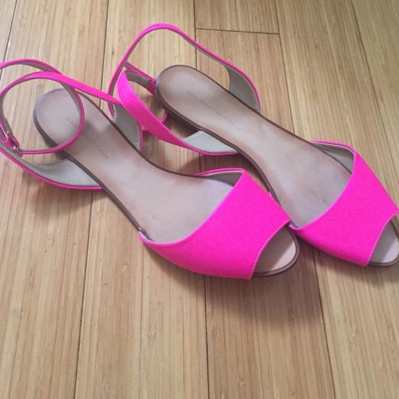 6f0eef54695 Zara hot pink flat ankle strap sandals