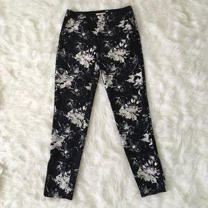Rebecca Taylor Pants - Rebecca Taylor Black and White Floral Print Pants