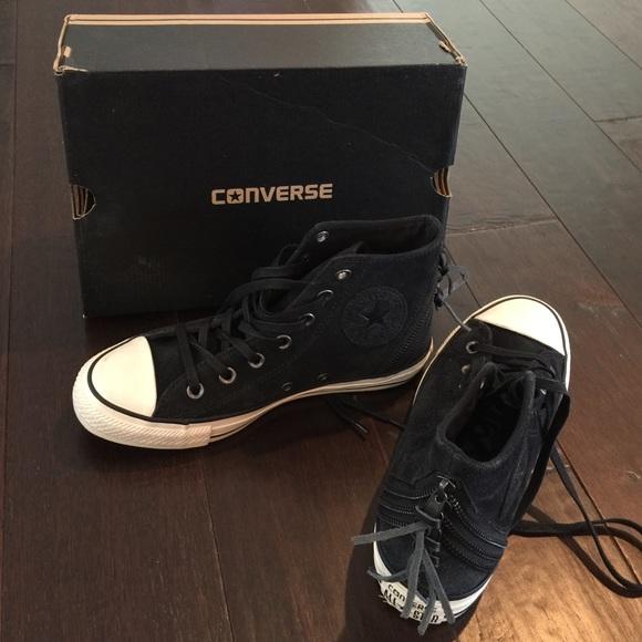 Converse Shoes | Black Suede Zipper