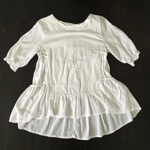 ChicWish Tops - White Tiered Long Blouse