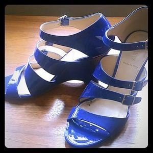 J Crew Blue Patent Leather Wedges