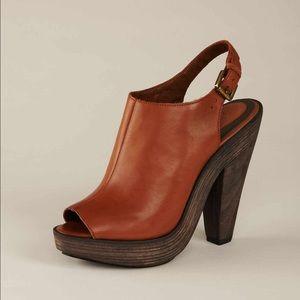 Joie Shoes - nwot//joie • cognac leather platform sandals