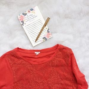 J. Crew Lace Front Tee