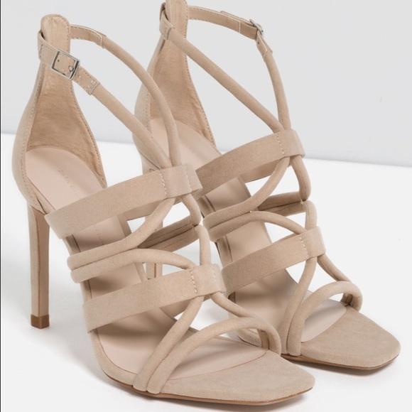 3234cadeb8b NWT Zara Nude Tan Strappy Sandal Heel NWT