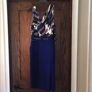 TAHARI ASL Cobalt Cowl Neck Dress