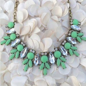 Mint & Crystal Burst Drop Statement Bib Necklace