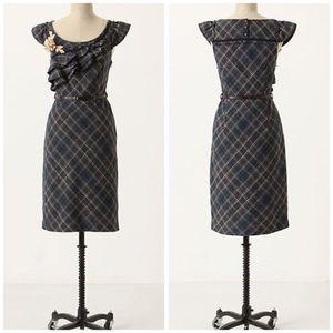 Anthro ruffled plaid dress