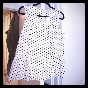 New with tags polka dot and peplum jcrew top