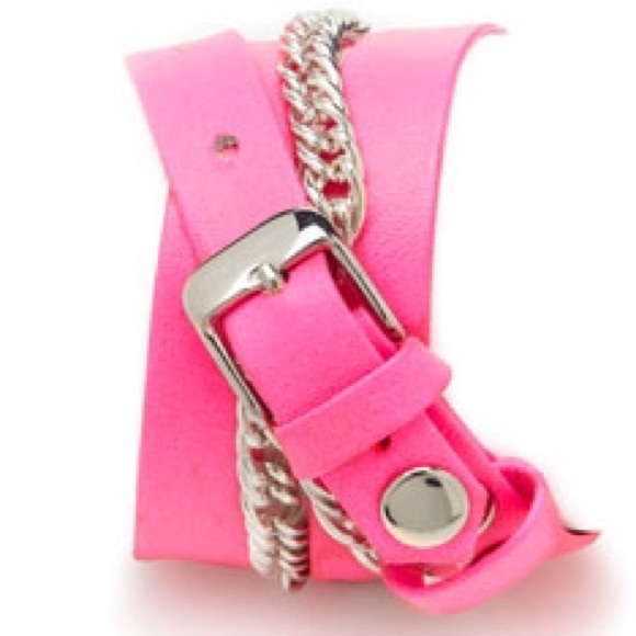 La Mer Accessories - La Mer Hot Pink + Silver Chain Wrap Watch