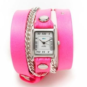 La Mer Hot Pink + Silver Chain Wrap Watch