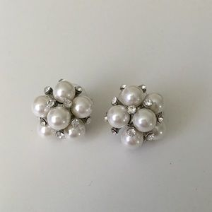 Jewelry - Large Pearl and Crystal Cluster Earrings