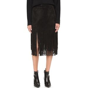 JOA Suede Fringe Contrast Skirt in black