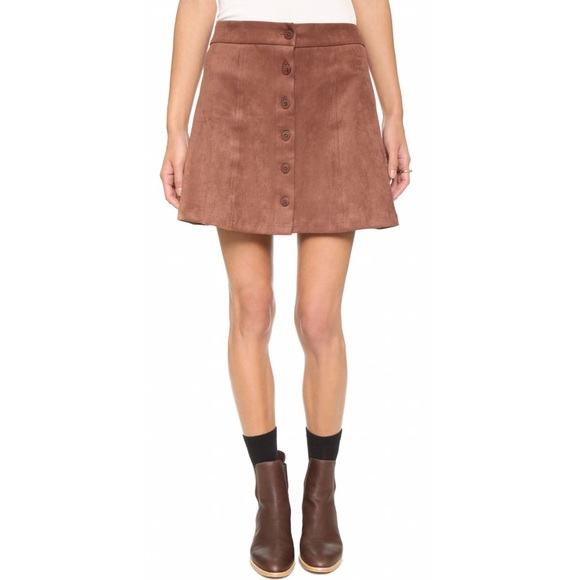 Wayf Dresses & Skirts - Wayf Suede Button Front Skirt in Brown