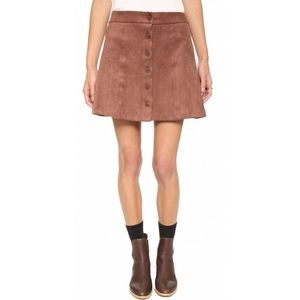 Wayf Suede Button Front Skirt in Brown