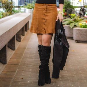 Wayf Skirts - Wayf Suede Button Front Skirt in Brown