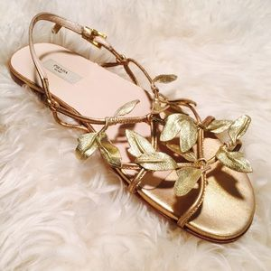 0439ca7ce2aa1e Prada Shoes - PRADA Gold Leaf Grecian Sandals EUC AUTHENTIC 35.5