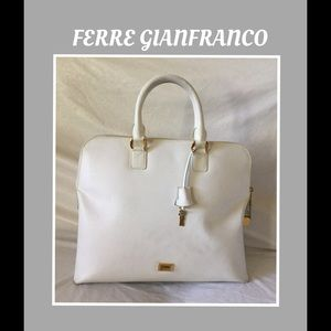 Gianfranco FERRE Handbags - Gianfranco FERRE Satchel Ivory Leather w/ LocknKey