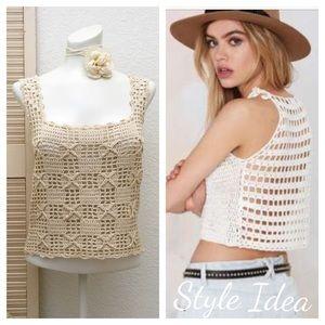 Tops - Vintage Boho Crochet Square Neck Tank❤️