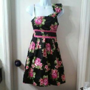 Teeze Me Dresses & Skirts - Teeze Me Blk Pink Floral Print Dress Size 3