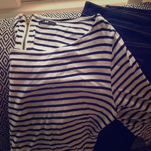 Navy & White Boatneck Tee with Gold exposed zipper
