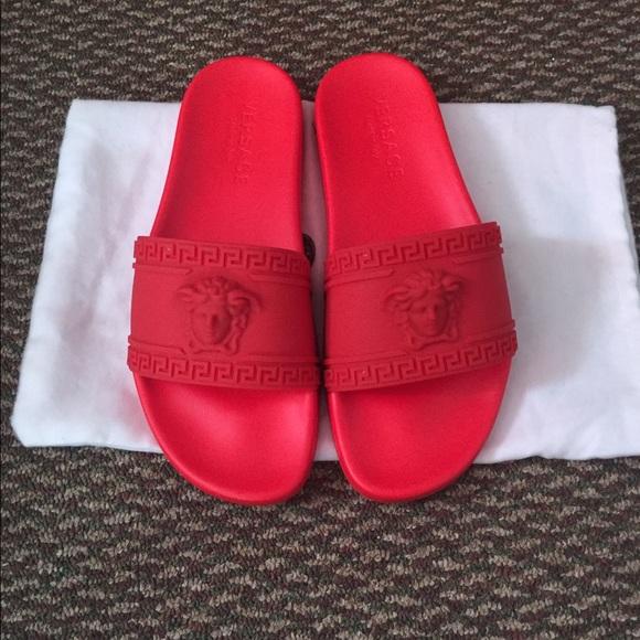 02997f9f76a2b Versace Medusa Red Slide Beach Sandals Size 9. M 5765ea2bf739bc7e11010110