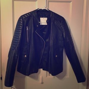 'Damia' Black Faux Biker-Style Leather Jacket