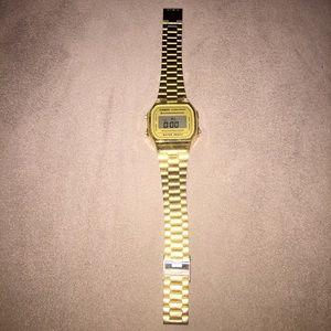 gold AA casio watch