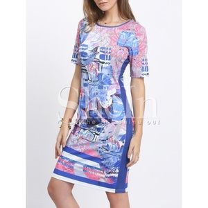 Blue Short Sleeve Print Sheath Dress