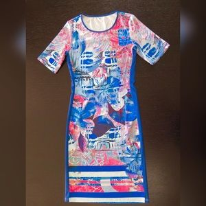 Dresses - Blue Short Sleeve Print Sheath Dress
