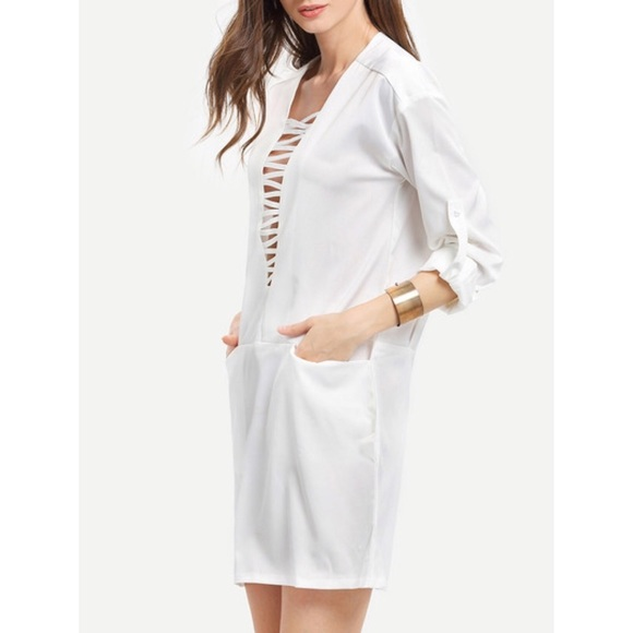 Dresses - White Long Sleeve Pockets Dress Beach Coverup