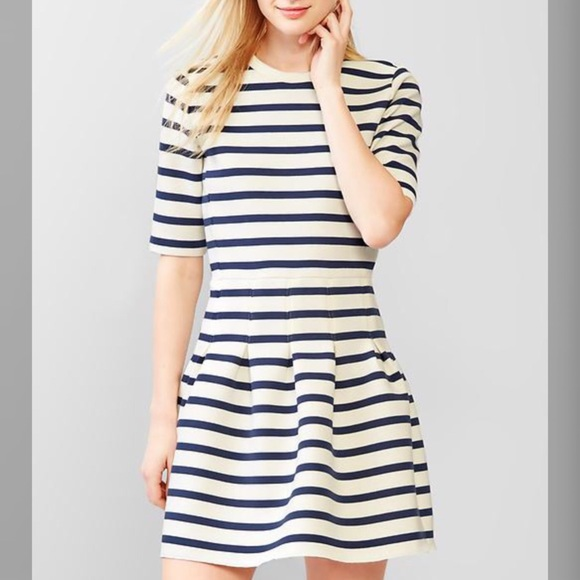GAP Dresses - Navy & White Stripe Scuba Fit & Flare Dress NWT