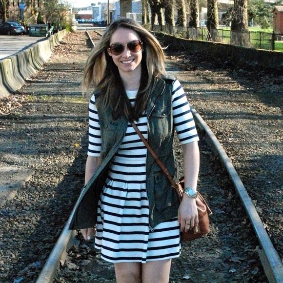 GAP Dresses - Navy & White Stripe Scuba Fit & Flare Dress NWT