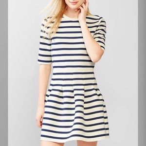 Navy & White Stripe Scuba Fit & Flare Dress NWT