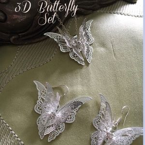  Gorgeous 3D 925 Butterfly Set