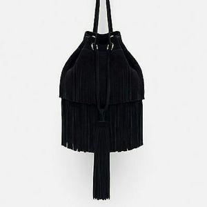 Zara fringed  leather bucket bag (8464)