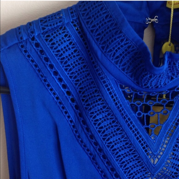 Catherine Malandrino Tops - Catherine Maladrino Cobalt High Neck Blouse