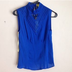 Catherine Maladrino Cobalt High Neck Blouse