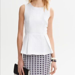 Banana Republic Petite White Jacquard Peplum Top