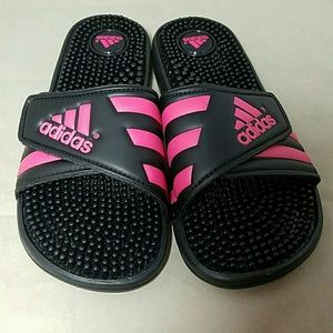 3076882526a8 Adidas Shoes - ADIDAS Sz 7  nwot  Black   Hot Pink Slides Sandals