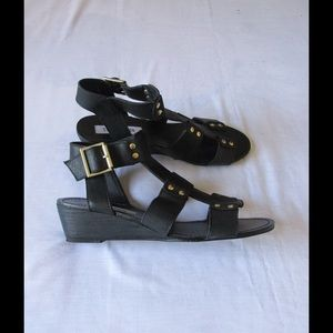 Steve Madden Shoes - Real Leather! Black Low Wedge Sandals S. Madden