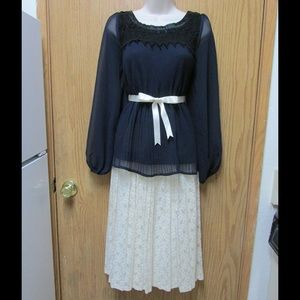 Elegant Blue Pleated Blouse W/Lace Trim & Belt