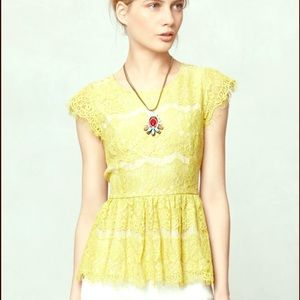 Anthropologie Olive Lace Peplum Blouse Top