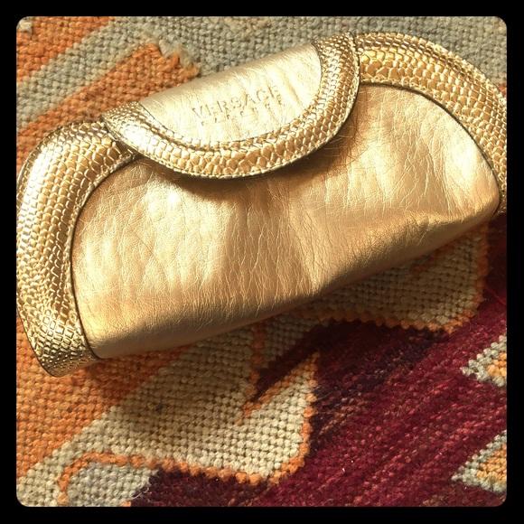 Versace Bags   New Parfum Gold Faux Leather Bag Clutch   Poshmark 0c5fb56281