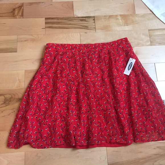 Clothing, Shoes & Accessories Old Navy Womens Red White Flowy Short Skirt Elastic Waist Size Xs Nwt Skirts