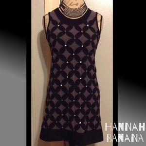 Hannah Banana Dresses & Skirts - HANNAH BANANA Edgy Blk/Gray Studded Stretchy Dress
