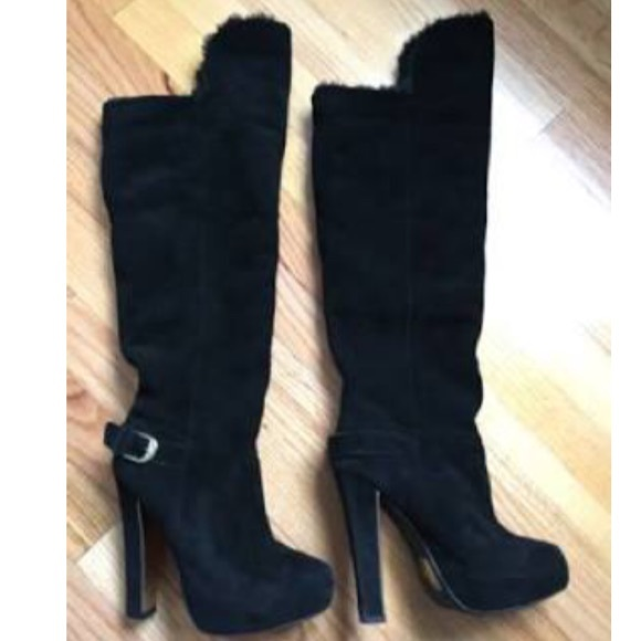 colin stuart the knee black suede high heeled boots