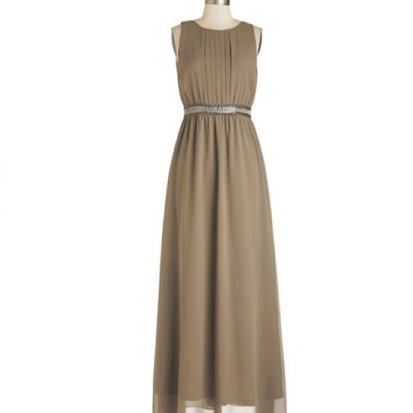 60% off ModCloth Dresses & Skirts - Tan Modcloth Prom Dress from ...