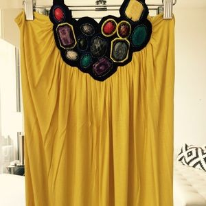 Long dress yellow cotton jersey assorted stones