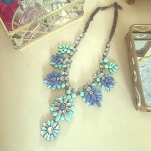 Mint and Blue Jeweled Statement Necklace