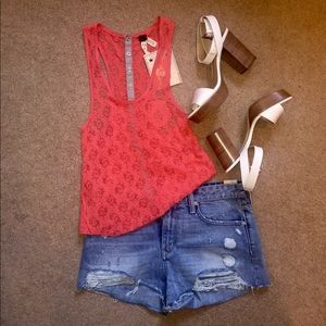 """Free People """"We The Free"""" Coral Lace Tank"""